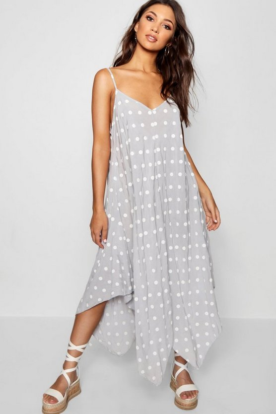 Polka Dot Hanky Hem Maxi Dress