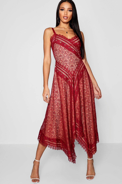 Купить Dresses, Premium из кружева с бахромой Миди-платье с асимметричным подолом, boohoo