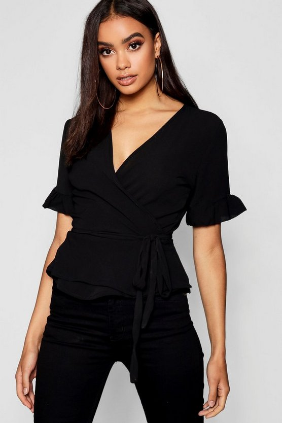 Woven Frill Sleeve Wrap Blouse by Boohoo