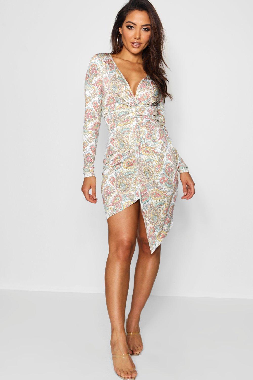 Купить Dresses, Принт с узором <павлиний глаз> Асимметричное миди-платье с перекрученным элементом спереди, boohoo