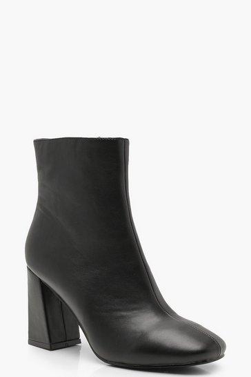 Black Flared Heel Shoe Boots