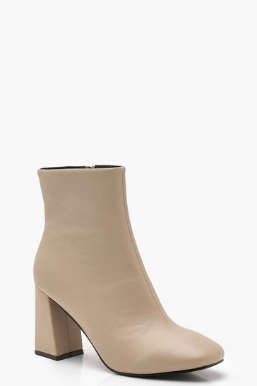 Natural Flared Heel Shoe Boots