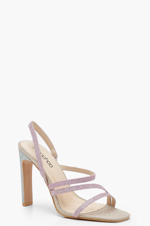 Купить Heels, Асимметричные босоножки на плоской подошве с блестками, boohoo