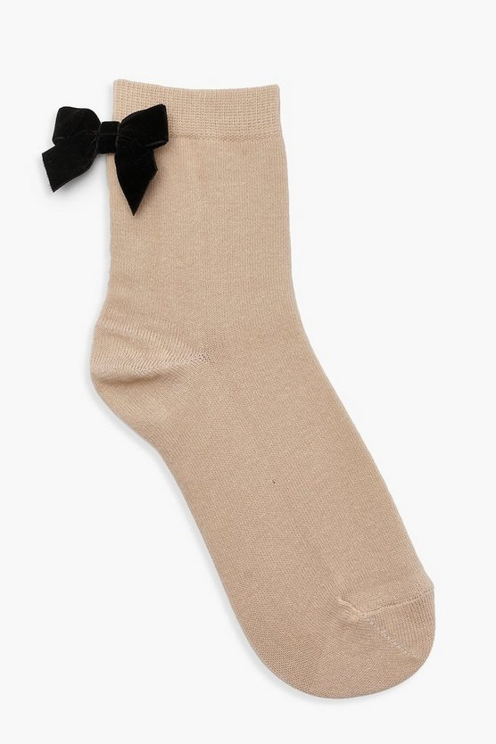 Ankle Socks With Velvet Bow