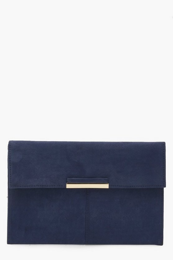 Suedette Envelope Clutch With Metal Bar