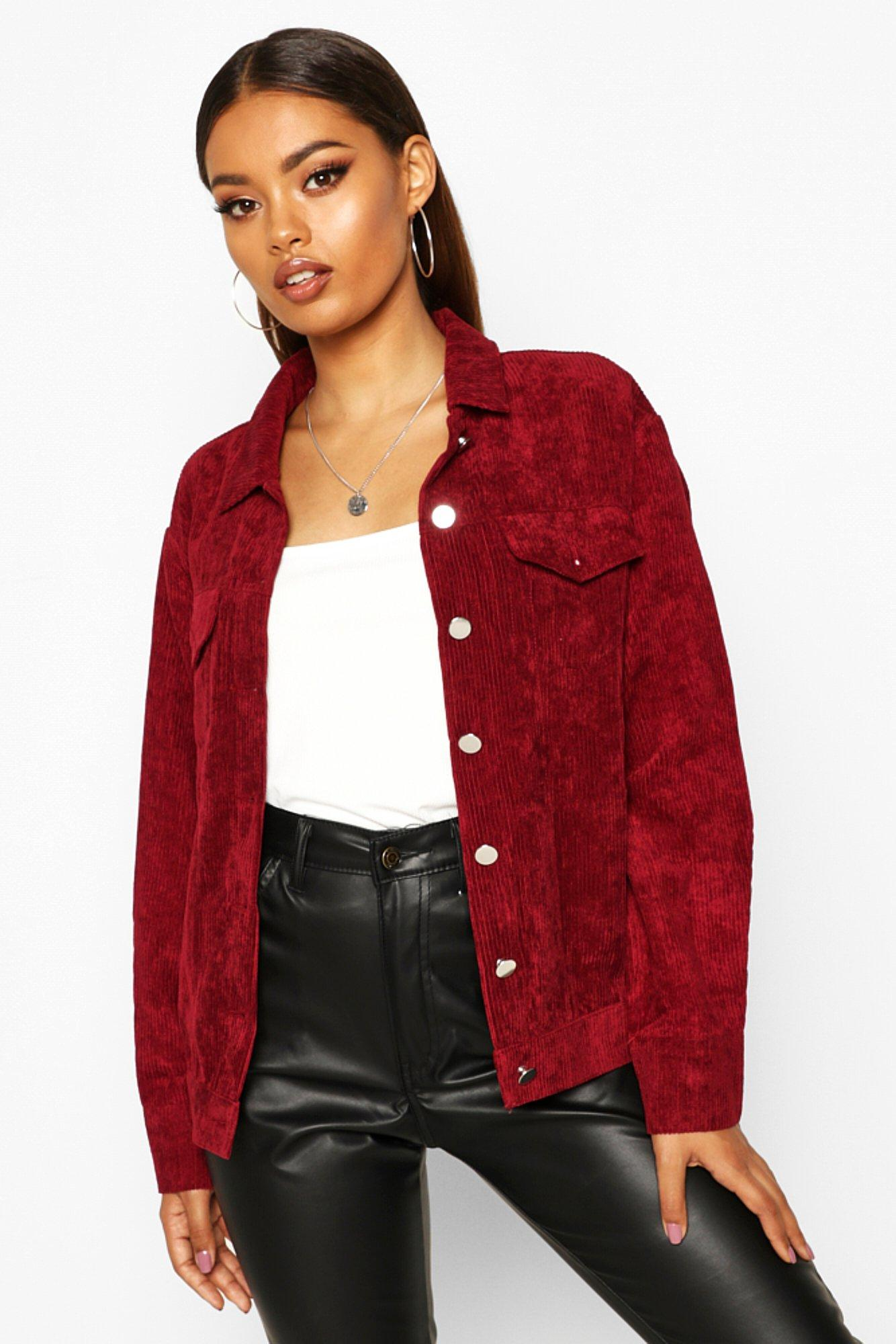 boohoo Womens Oversize Cord Jacket - Red - 10, Red