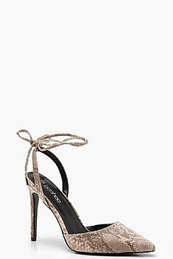Pointed Wrap Strap Snake Court Shoes