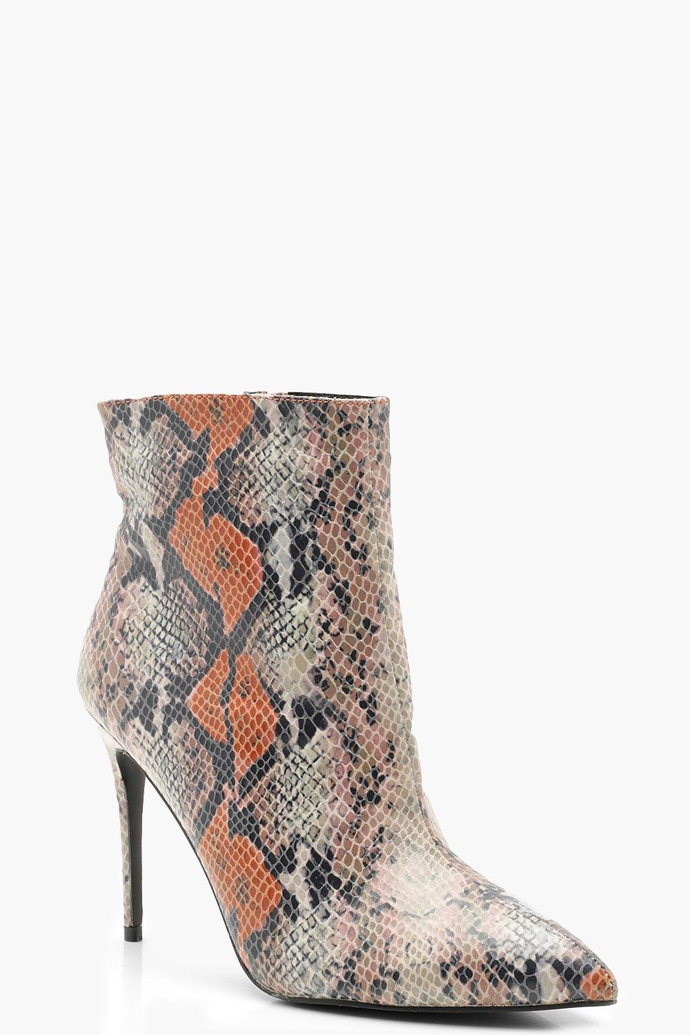 Купить Mixed Snake Pointed Toe Stiletto Shoe Boots, boohoo