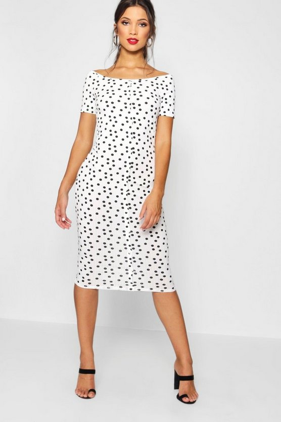 Ribbed Polka Dot Square Neck Midi Dress