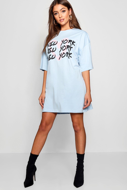 Купить Dresses, Платье-футболка свободного кроя с граффити New York , boohoo