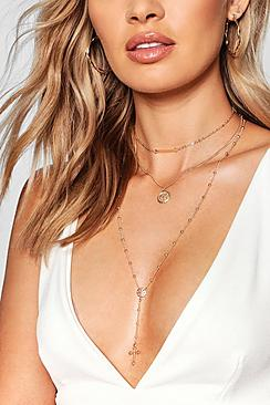 Bar & Cross Layered Plunge Necklace