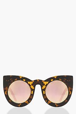 Mirrored Lens Tortoiseshell Cat Eye Sunglass