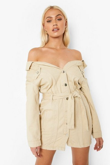 Ecru Off The Shoulder Denim Shirt Dress