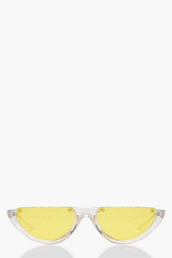 Yellow Lens Half Frame Retro Sunglasses by Boohoo