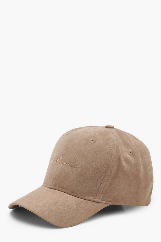 Suedette Woman Script Embroidered Cap