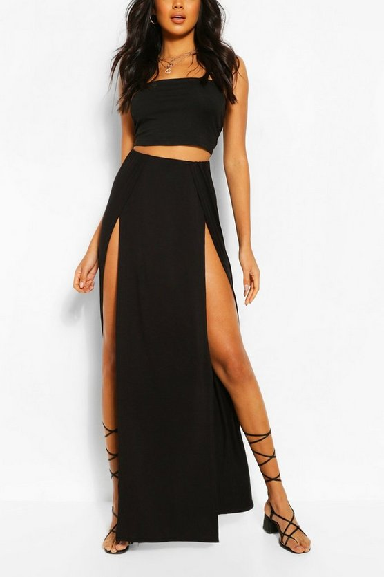 Thigh Split Maxi Skirt