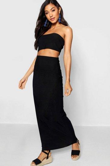 Black Basic Jersey Maxi Skirt