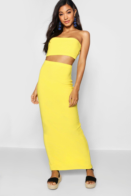 Womens Schlichter Maxirock aus Jersey - gelb - 36, Gelb - Boohoo.com