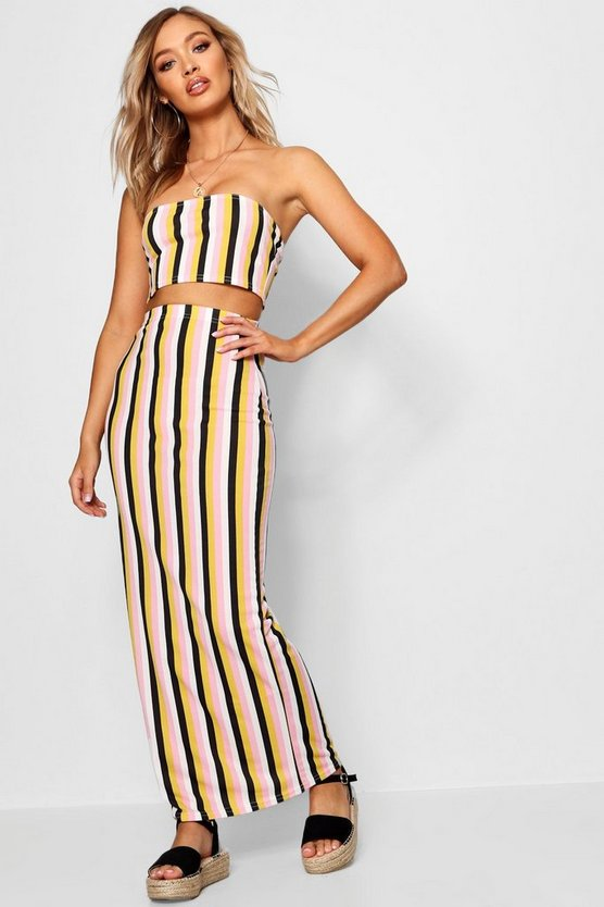 Tonal Stripe Basic Jersey Maxi Skirt