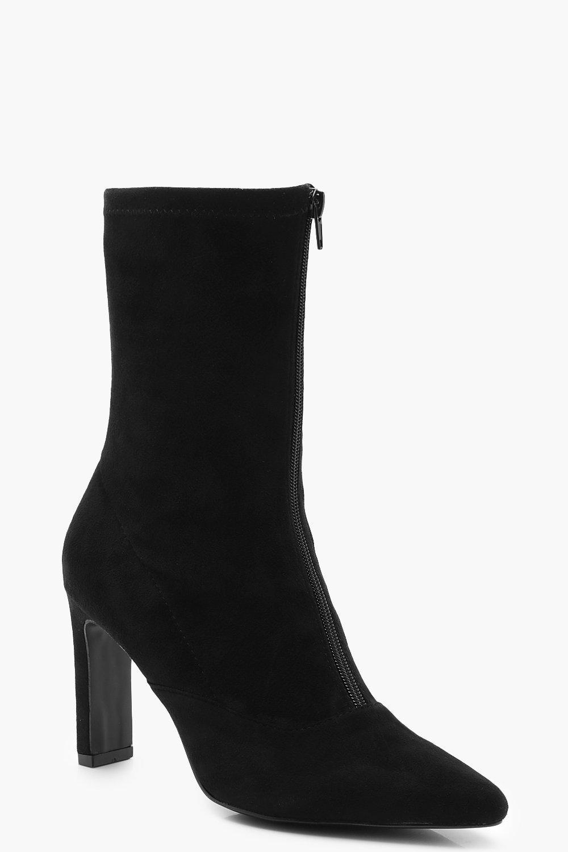 Купить Boots, Широкие на плоской подошве с молнией спереди Sock сапоги на каблуке, boohoo
