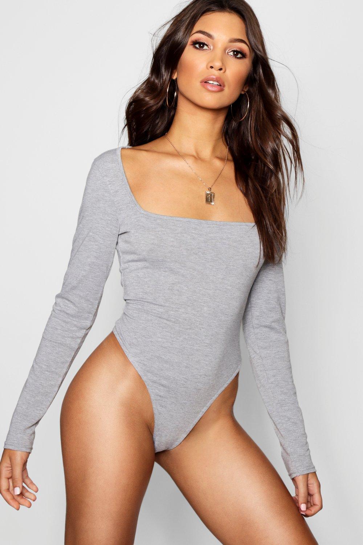 Womens L/S Body mit viereckigem Halsausschnitt - Grau meliert - 40, Grau Meliert - Boohoo.com