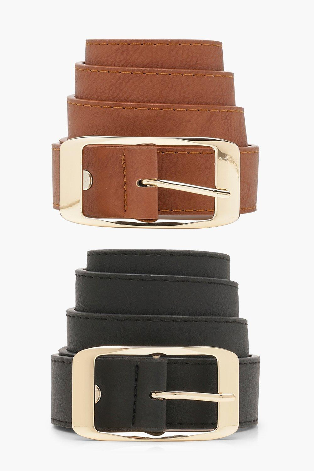 Click to view product details and reviews for Womens Two Pack Pu Boyfriend Belts Black One Size Black.