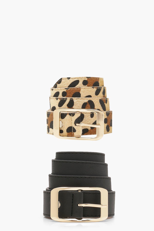 Купить Belts, Набор из двух пар And под замшу Ремни в мужском стиле с леопардовым принтом, boohoo