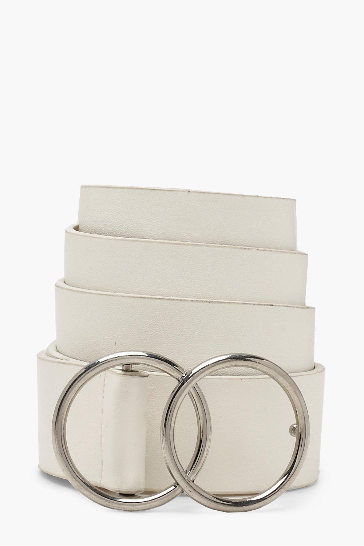 Купить Belts, Белый полиуретановый ремень с двумя кольцами, boohoo