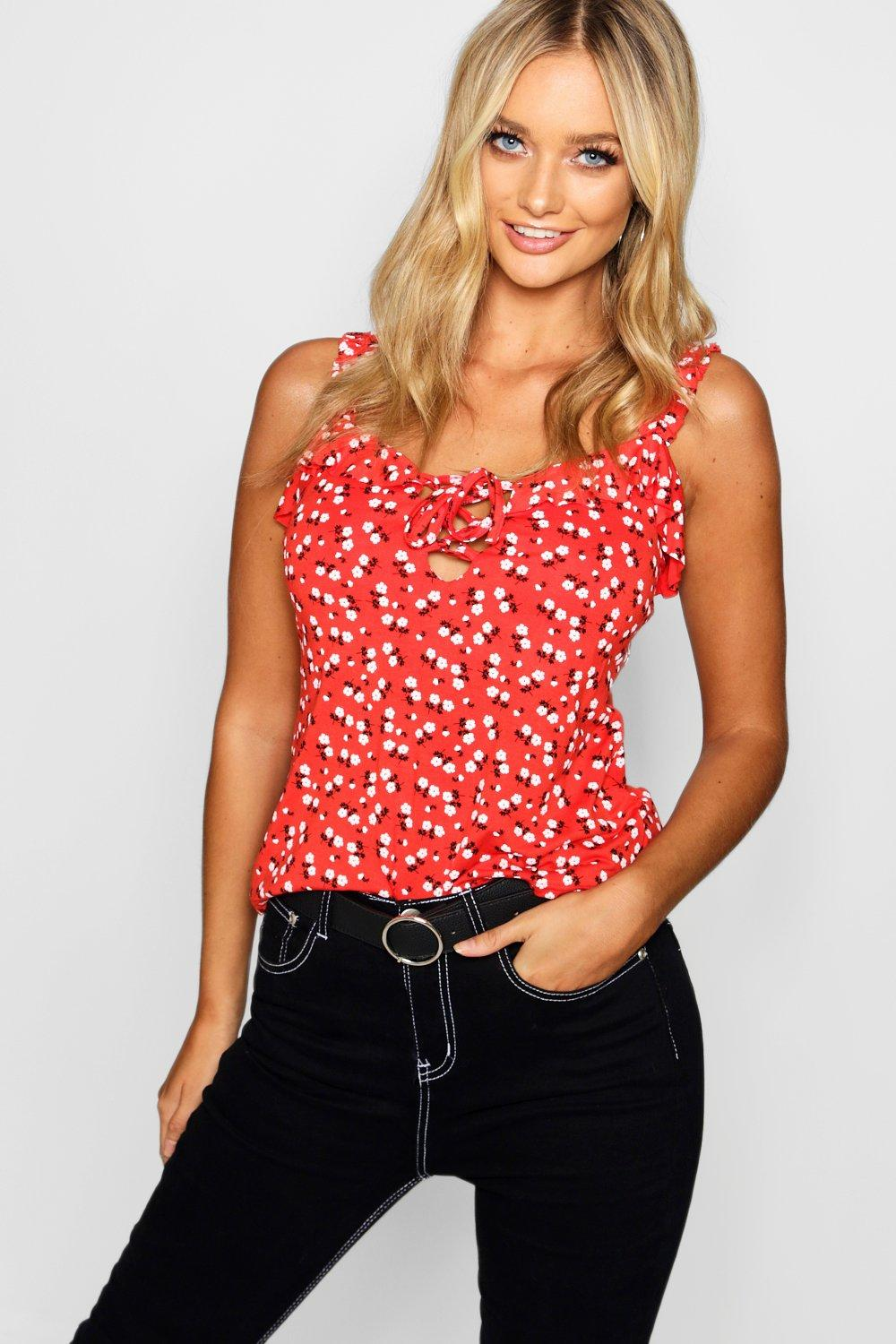 Купить Tops, Ditsy Floral Ruffle Lace Up Cami, boohoo