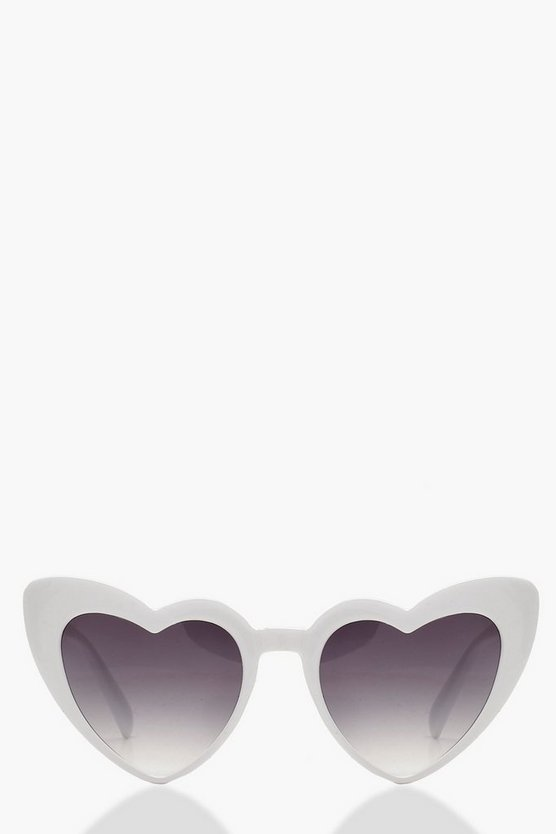 Oversized White Heart Shape Sunglasses