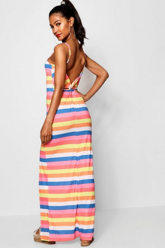 Striped Knot Back Jersey Maxi Dress