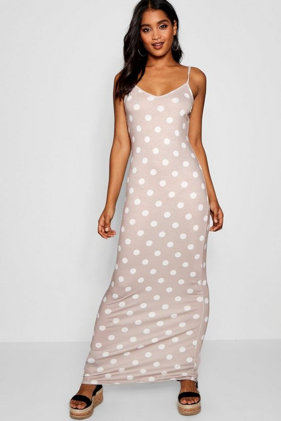 Polka Dot Strappy Jersey Maxi Dress