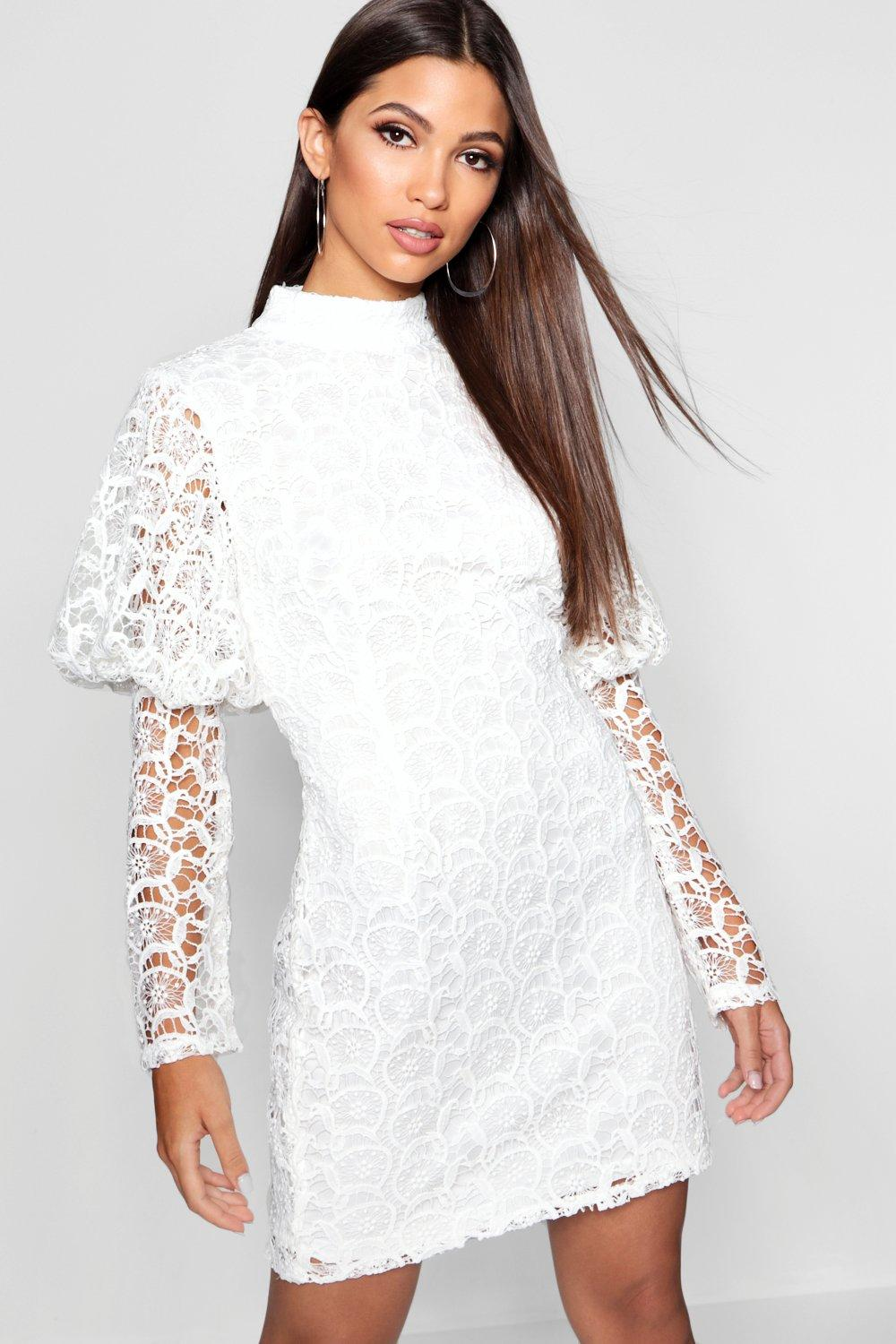 Lace High Neck Puff Sleeve Dress