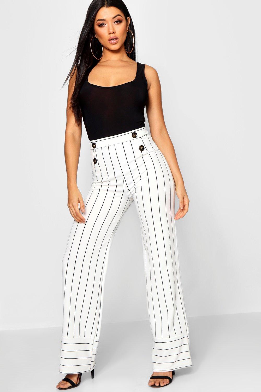 Купить Trousers, Широкие брюки в однотонную в полоску с отделкой пуговицами под рог, boohoo