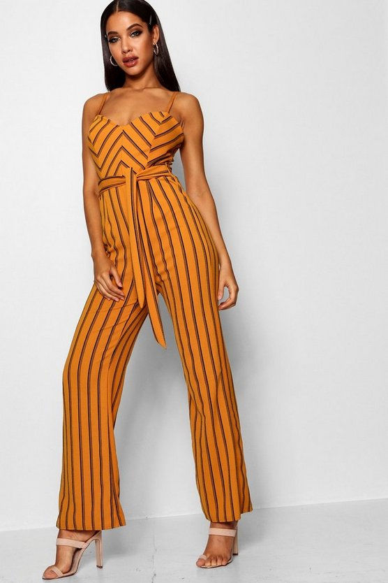 Striped Wide Leg Belted Jumpsuit