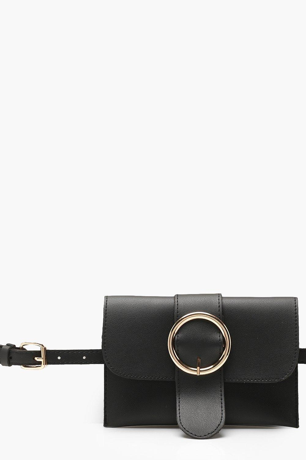 boohoo Womens Circle Buckle Belt Bag - Black - One Size, Black