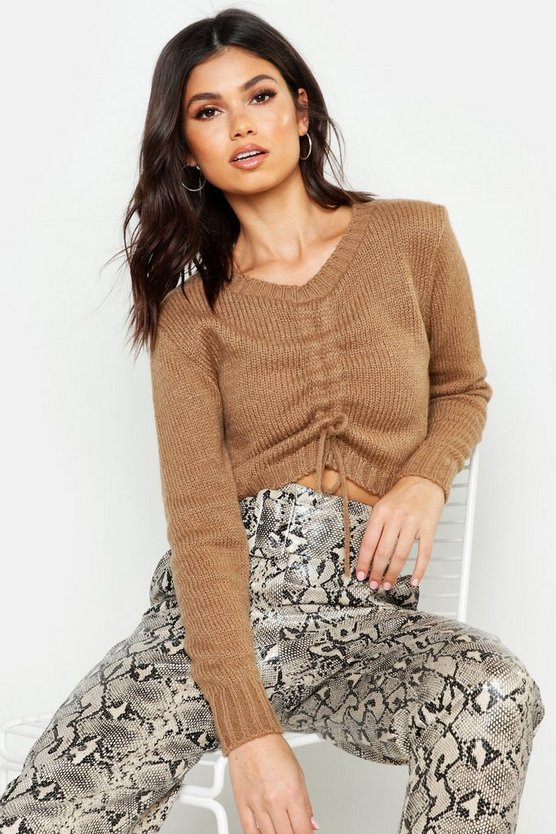 Ruched Front Crop Jumper