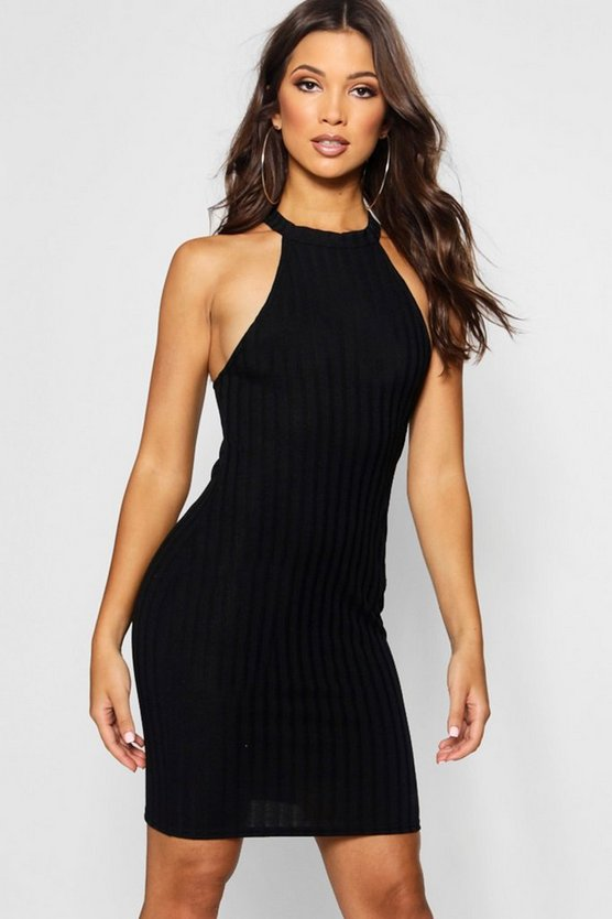 Racer Neck Rib Knit Bodycon