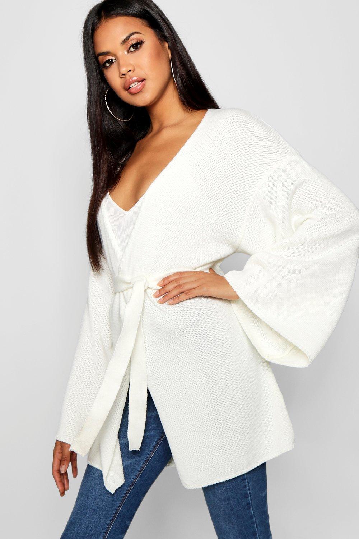 Womens Kimono-Cardigan mit Gürtel und Wickelung - creme - S, Creme - Boohoo.com
