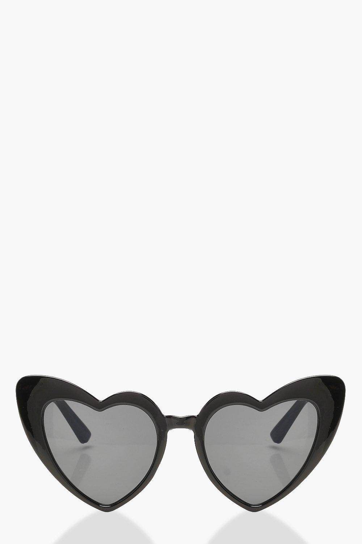boohoo Womens Oversized Heart Cat Eye Sunglasses - Black - One Size, Black