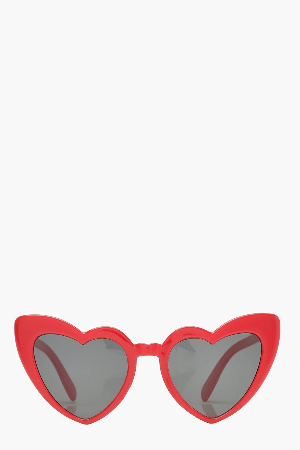 boohoo Womens Oversized Heart Cat Eye Sunglasses - Red - One Size, Red