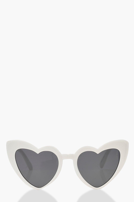 boohoo Womens Oversized Heart Cat Eye Sunglasses - White - One Size, White