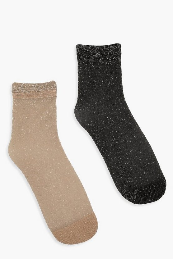 Sheer Glitter 2 Pack Ankle Socks