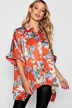 Übergroße Bluse mit seitlichen Rüschen - Boohoo.com
