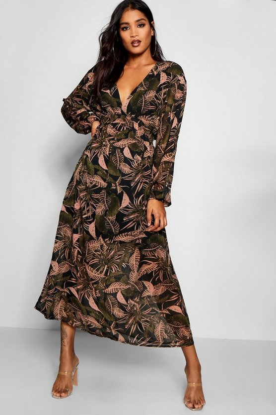 Palm Print Chiffon Maxi Dress by Boohoo