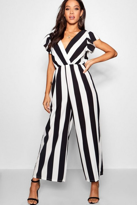 Wide Stripe Plunge Jumpsuit
