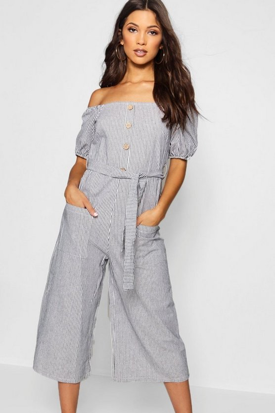 Square Neck Puff Sleeve Button Culotte Jumpsuit