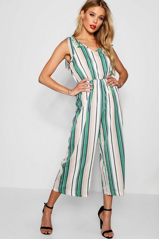 Stripe Tie Shoulder Jumpsuit