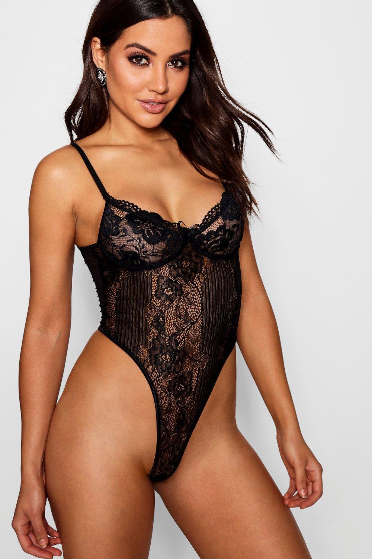 Womens Premium Body aus Spitze - schwarz - L, Schwarz - Boohoo.com
