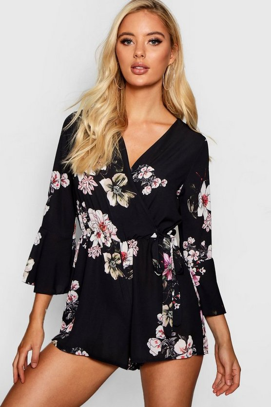Floral Wrap Tie Playsuit